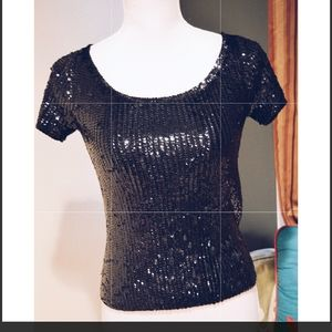 Oscar De La Renta Black Sequin Short sleeve top